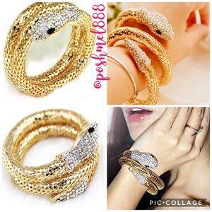 Jewelry - :: Golden 🐍Snake Coil & Crystal Bracelet